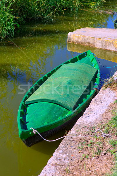 Stock photo: Albufera channel boats in el Palmar of Valencia