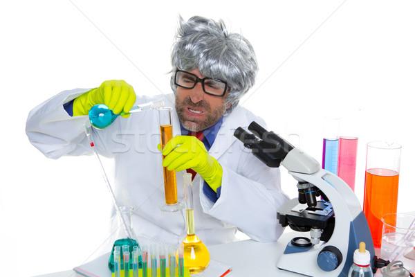 Louco louco nerd cientista engraçado lab Foto stock © lunamarina
