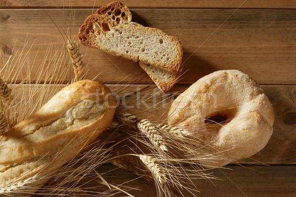 Delicious roll bakery sugar and wheat spikes Stock photo © lunamarina