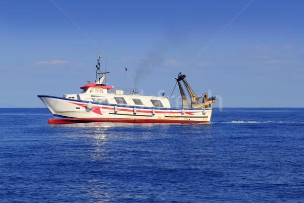 Boot werken middellandse zee offshore Blauw water Stockfoto © lunamarina