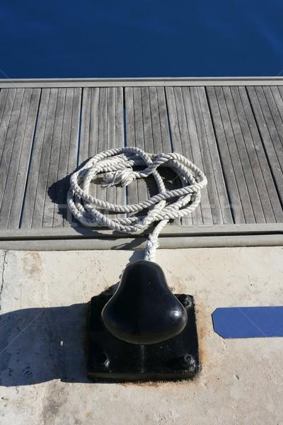 Marine round thread mooring teak wood Stock photo © lunamarina