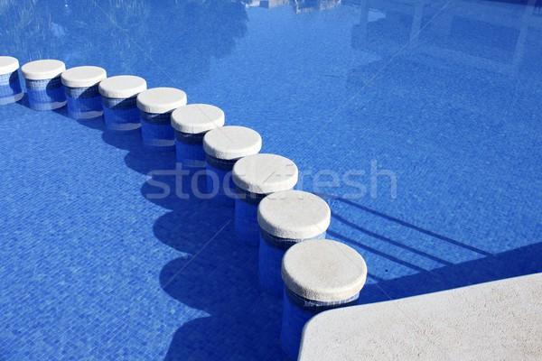 Blu piscina piastrelle modo felice Foto d'archivio © lunamarina