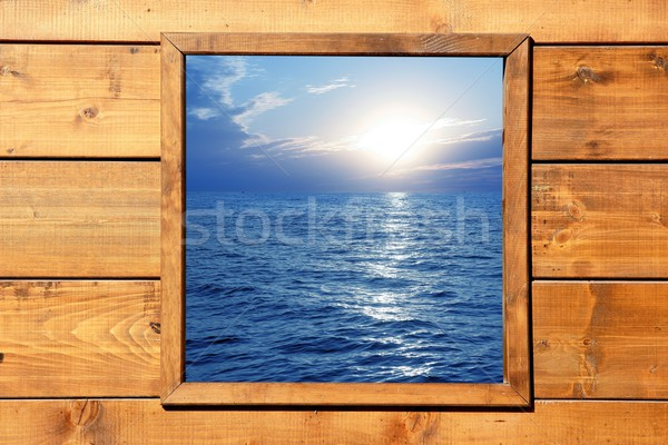 Window seascape view from wooden room Stock photo © lunamarina