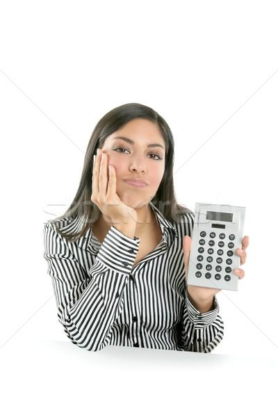 Beautiful brunette businesswoman sad about stats Stock photo © lunamarina
