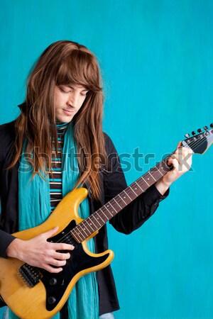 Bella bruna giocare chitarra acustica viola musica Foto d'archivio © lunamarina