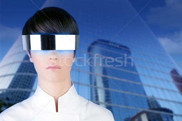 Foto stock: Plata · futurista · gafas · mujer · de · negocios · espejo · edificios