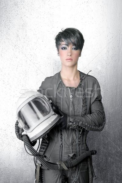 fashion silver woman spaceship astronaut helmet Stock photo © lunamarina