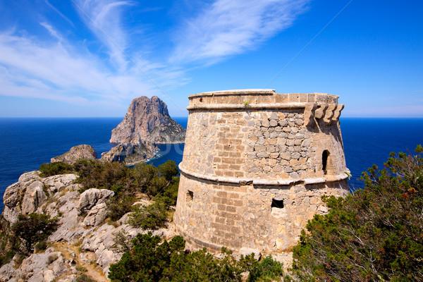 Ibiza Es Vedra view from Torre des Savinar Tower Stock photo © lunamarina