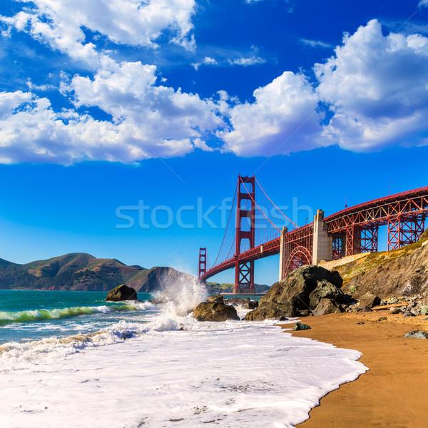 Foto stock: San · Francisco · Golden · Gate · Bridge · praia · Califórnia · EUA · céu