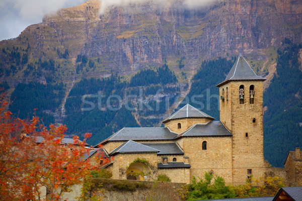 Torla Church in Pyrenees Ordesa Valley at Aragon Huesca Spain Stock photo © lunamarina