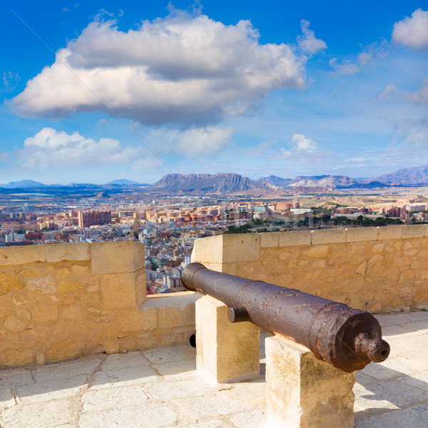 Alicante skyline and old canyons of Santa Barbara Castle Stock photo © lunamarina
