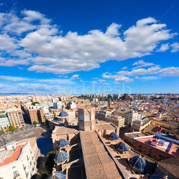 Valencia aerial skyline with Plaza de la virgen and Cathedral Stock photo © lunamarina