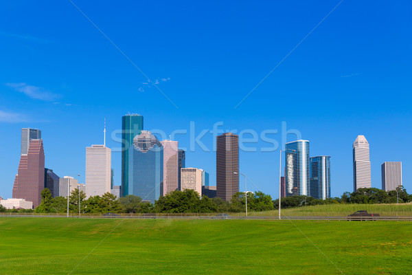 Houston skyline blauwe hemel park Texas Stockfoto © lunamarina