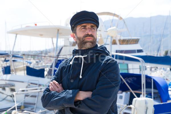 Zdjęcia stock: Marynarz · marina · portu · łodzi · człowiek · niebieski
