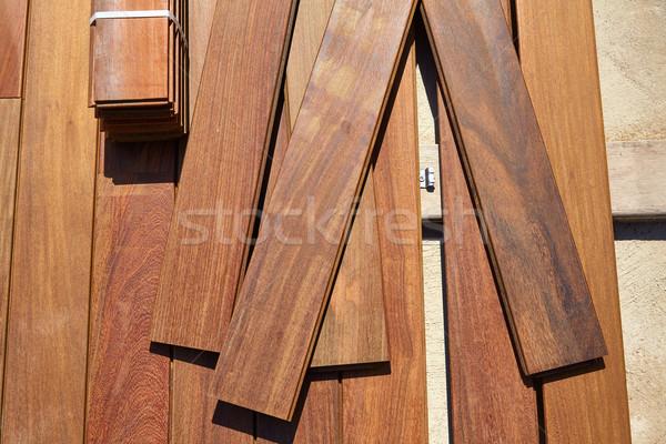 Pokład drewna instalacja tekstury domu retro Zdjęcia stock © lunamarina