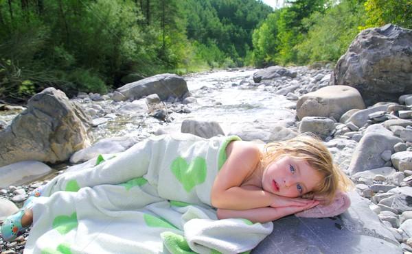 Foto d'archivio: Ragazza · asciugamano · fiume · nuoto · bagno