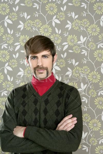 mustache retro salesman geek portrait  Stock photo © lunamarina