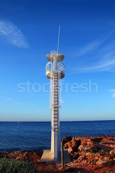 Baywatch white lookout tower in Mediterranean Stock photo © lunamarina
