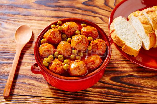 Meatballs tapas meatloaf albondiga recipe Stock photo © lunamarina
