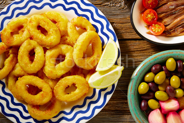 Tapas spanish seafood  fried calamari Stock photo © lunamarina