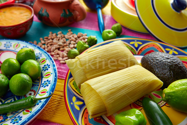 Mexican Tamale tamales of corn leaves Stock photo © lunamarina