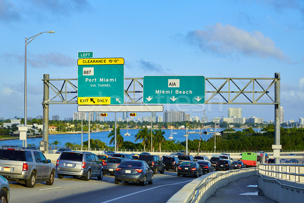 Miami traffic driving to Miami beach Florida Stock photo © lunamarina