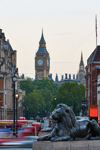 London Trafalgar Square lion and Big Ben Stock photo © lunamarina
