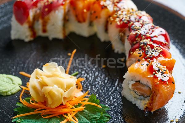 Stock photo: Rice Maki Sushi with salmon and tuna