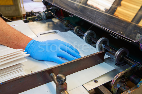 Flexo printing machine in a print factory Stock photo © lunamarina