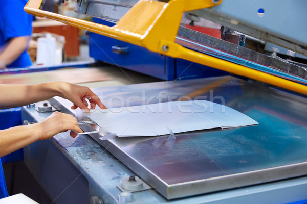 Serigraphy print bags machine printing factory Stock photo © lunamarina