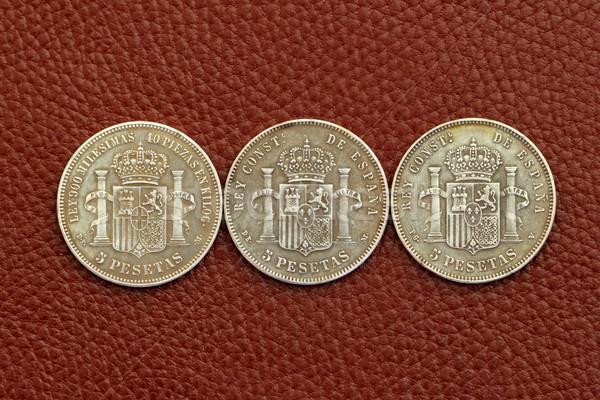 five pesetas spain old coins Alfonso XII Carlos III  Stock photo © lunamarina