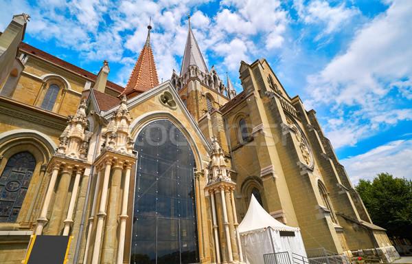 Város Notre Dame-katedrális Svájc égbolt épület nyár Stock fotó © lunamarina
