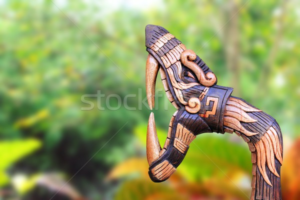 Chichen Itza Snake symbol wood handcraft Mexico Stock photo © lunamarina