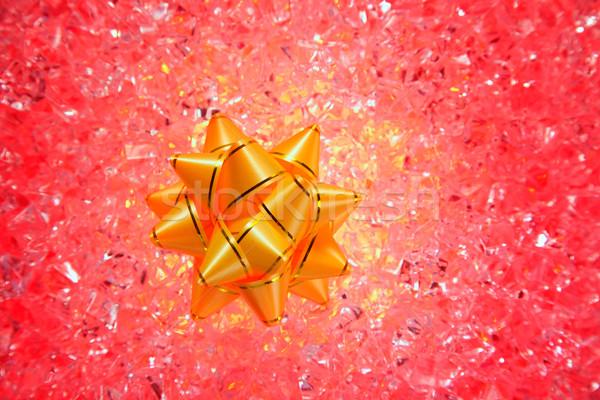 Natal dom dourado fita vermelho gelo Foto stock © lunamarina