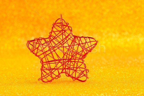 Foto stock: Natal · dourado · estrela · arame · brilho · abstrato