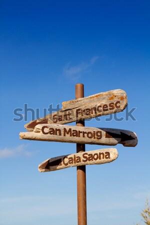Formentera wood road signs Cala Saona Stock photo © lunamarina
