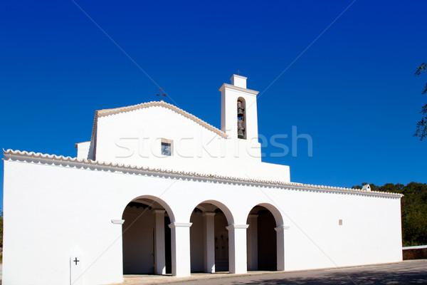 Ibiza Sant Mateu d Albarca San Mateo white church Stock photo © lunamarina