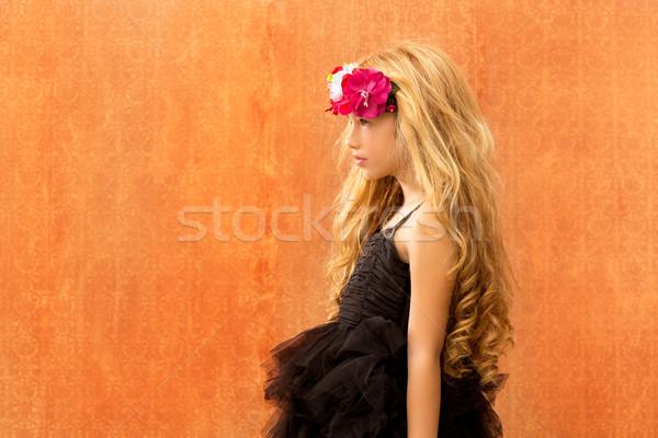Fekete ruha gyerek lány profil klasszikus divat Stock fotó © lunamarina
