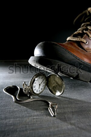 euro currency coin tread by a boot Stock photo © lunamarina
