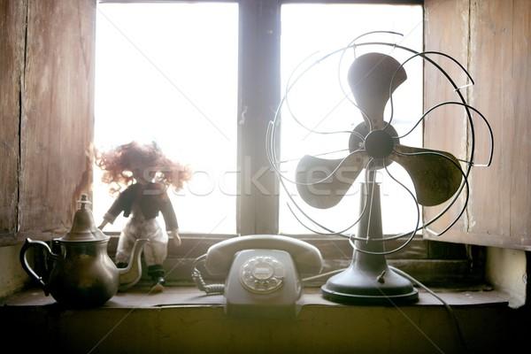Antique vintage air fan, doll and phone Stock photo © lunamarina