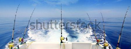 Trolling offshore fisherboat rod reels wake sea Stock photo © lunamarina