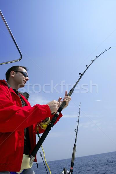 Balıkçı büyük oyun ton balığı mavi Stok fotoğraf © lunamarina