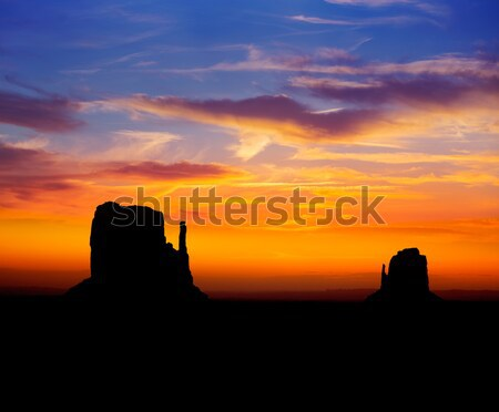 Sunrise at Monument Valley West and East Mittens Butte Stock photo © lunamarina