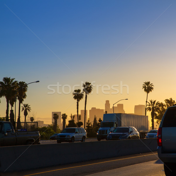 Photo stock: La · Los · Angeles · coucher · du · soleil · Skyline · trafic · Californie