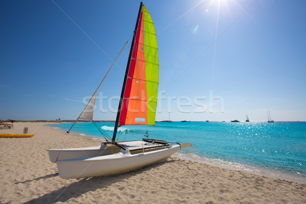 Catamaran sailboat in Illetes beach of Formentera Stock photo © lunamarina