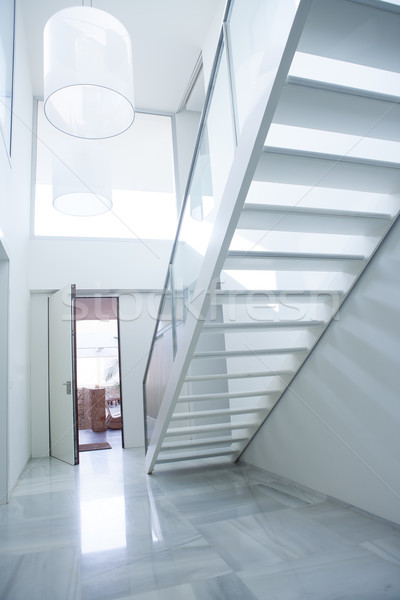 Modern white house entrance hall lobby with stairway Stock photo © lunamarina