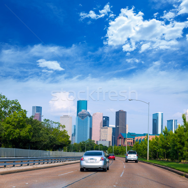 Stock photo: Houston skyline from Buffalo Bayou Pkwy Texas US