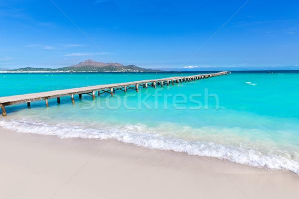 Praia mallorca pier Espanha água Foto stock © lunamarina