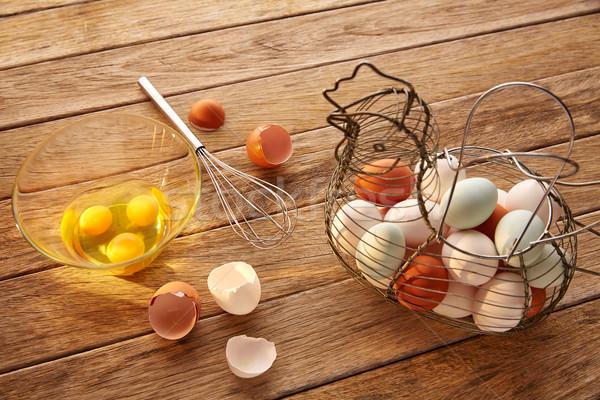 Eieren vintage kip vorm mand shaker Stockfoto © lunamarina