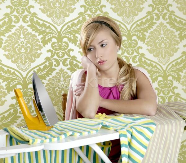 Retro háziasszony klasszikus nő vasaló fáradt Stock fotó © lunamarina